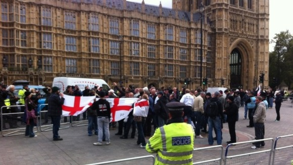 EDL outside Parliament.