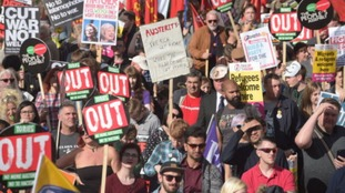 Protesters gather at the anti-austerity demonstration outside the Conservative Party Conference in Birmingham.