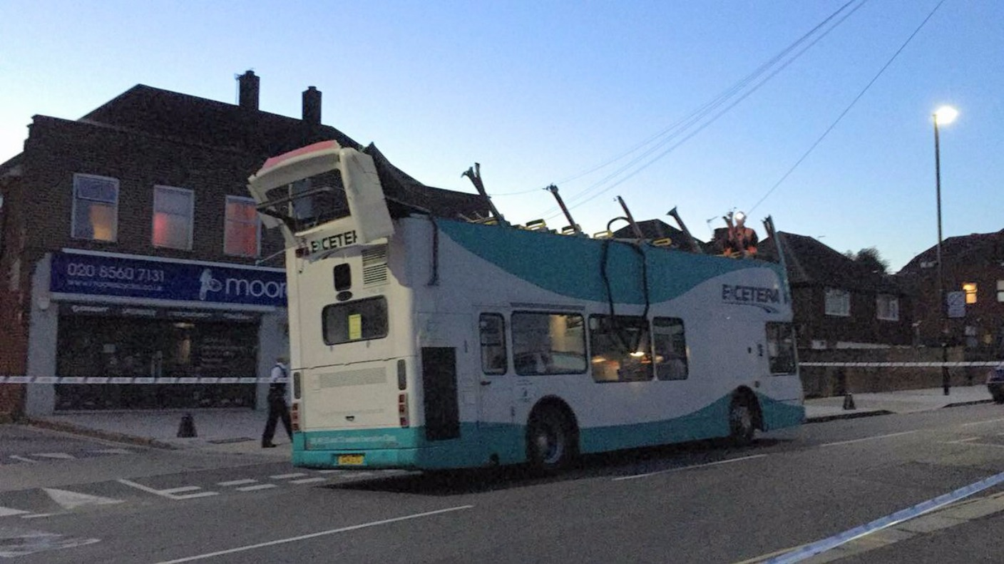 Roof Of Double Decker Bus Sliced Off After Hitting Bridge