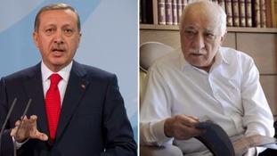 President Erdogan (l) blames Fethullah Gulen (r) over the coup.