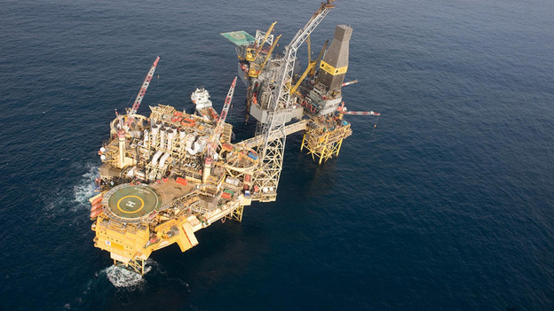 Two-mile exclusion zone has been set up around the offshore platform which has been evacuated after a gas leak. 