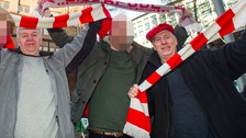 Paul Lightowler (left) and Richard Eveleigh (right) on the way to watch a Liverpool game.