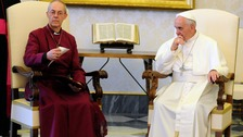 Archbishop of Canterbury Justin Welby and Pope Francis in 2013.