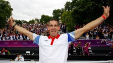 Etienne Stott celebrates during the parade in London four years ago.