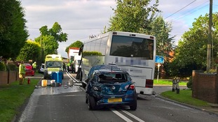 Three people injured in multi-vehicle crash on A41