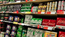 Alcohol on shelves in a supermarket