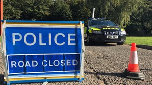 The A1101 was closed while police and RAF teams searched the area.