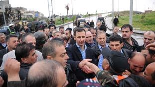 President Assad visits Homs, Syria.
