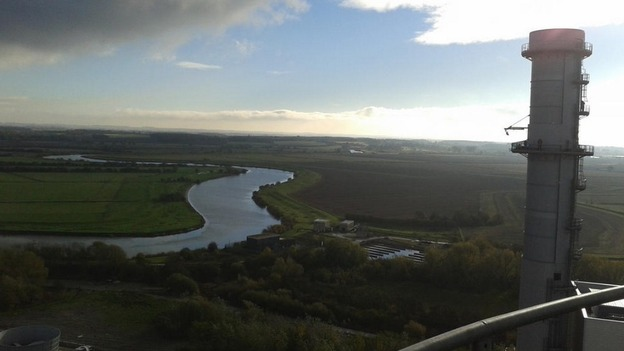 The view from the top of chimneys being occupied by protesters at a power station in Nottinghamshire