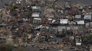 Homes destroyed by the hurricane in a village in Corail, Haiti