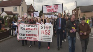 Anti-HS2 campaigners march through Bramley near Rotherham
