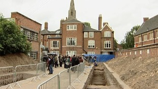 The dig site in the car park in Leicester where the remains were found