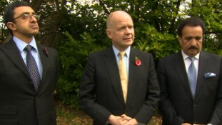William Hague speaks to reporters outside the hospital