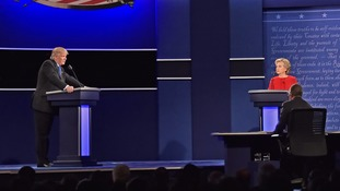 Hillary Clinton and Donald Trump take part in the first presidential debate.