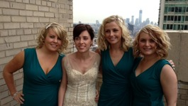 Bride and bridesmaids in New York
