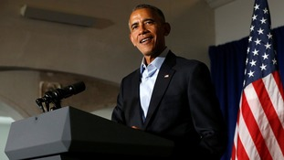 U.S. President Barack Obama delivers remarks at a senatorial campaign fundraiser event for U.S. Representative Tammy Duckworth