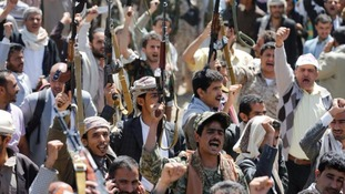 Yemenis demonstrate after the Saudi-led airstrikes