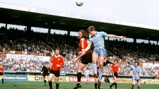 Gerry Gow (left) fights for a header againts Coventry City's Steve Hunt