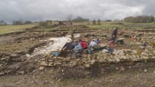Archaeologists at Vindolanda.