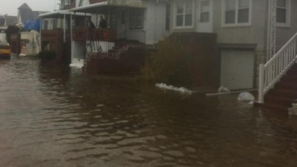The flood waters rose quickly in the region ahead of Sandy.