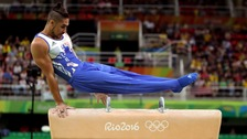 Gymnast Louis Smith in action for Team GB at the Rio Olympics.