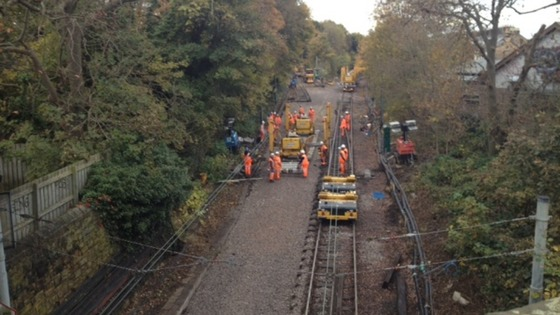 Workers carry out maintenance work on the closed Tyne and Wear Metro