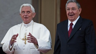 Pope Benedict XVI and Cuban President Raul Castro