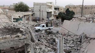 Devastation caused by airstrikes in Aleppo.