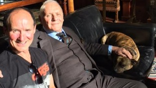 Sir Anthony Hopkins with Freya and her owner Ray Collins