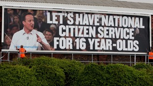 A billboard advertising David Cameron's National Citizenship Service.