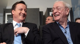 David Cameron pictured with Sir Michael Caine at the launch of the National Citizen Service in London, 2010.