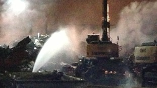 Heavy plant machinery was at risk of being consumed by the fire