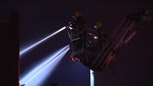 Aerial ladder platforms were needed to monitor the fire