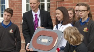 Jo Pavey with headteacher and pupils at The King's School