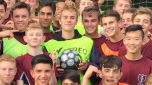 Justin Bieber shocks pupils after turning up to play football