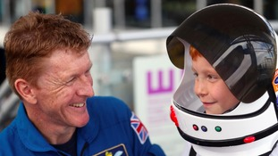 Astronaut Tim Peake lands in Cardiff to inspire schoolchildren