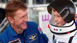 Tim Peake meets a school boy