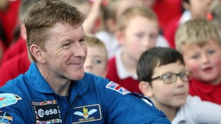 Tim Peake with school children