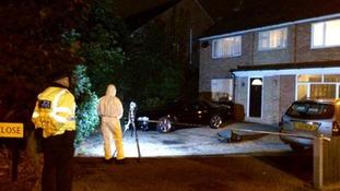 Police at the scene last night.