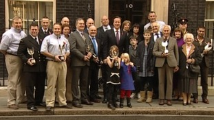 David Cameron with the winners of the Pride of Britain