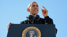 U.S. President Barack Obama speaks at a campaign event in Cleveland, Ohio