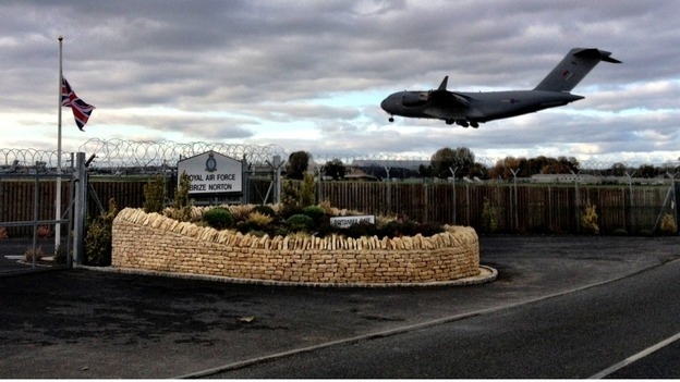The plane landing at RAF Brize Norton