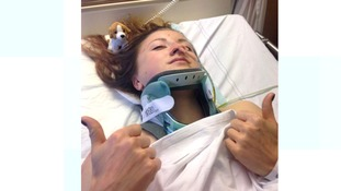 A thumbs up from Vicky from her hospital bed