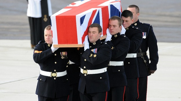 The repatriation ceremony at RAF Brize Norton of Corporal David O'Connor from 40 Commando Royal Marines