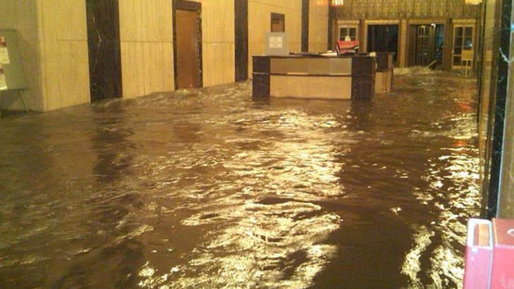 Flooded Lobby Of The Verizon Building In New York Itv News