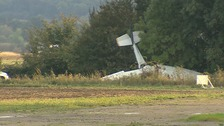The light aircraft came down at Bourn Airfield.