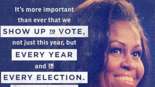 Barack Obama's team posted this photo and quote from Michelle Obama issuing a rallying cry to voters.