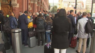 Passengers outside St Pancras unable to board their trains