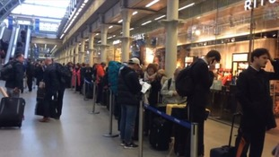 Huge queues at St Pancras for passengers unable to board