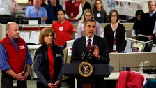  President Barack Obama speaks about the damage done by Hurricane Sandy at the National Red Cross Headquarters in Washington.